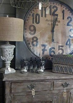 Shabby Chic French Cottage...large clock...distressed dresser...lamp.
