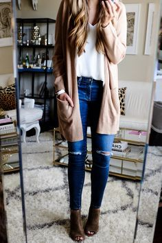 Long Cardigan with Open Toe Booties