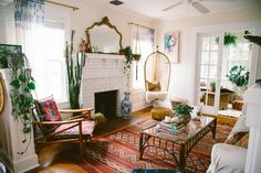Discover Your Home's Decor Personality: 19 Inspiring Artful Bohemian Spaces - Bohemian interior with fireplace living area rugs Bohemian Living Rooms, Bohemian House, Living Room Decor, Living Spaces, Modern Bohemian, Bohemian Style, Bohemian Decor, Boho Room, Bohemian Interior
