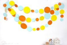 Items similar to Yellow Orange Blue Party Garland Baby Room Decor, Hen Party Decoration, Wedding Garland, Paper Garland, Birthday Decor on Etsy Party Garland, Garland Wedding, Hen Party Decorations, Birthday Decorations, Baby Room Decor, Wall Decor, Blue Party, Orange, Yellow