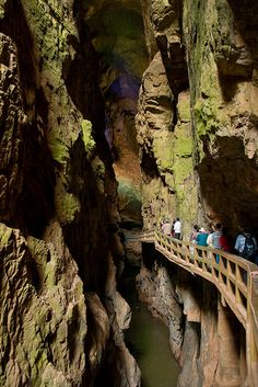 Entrance to the underground caves of Jiuxiang Diehong Bridge Scenic Area, Kunming, China