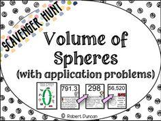 Volume of Spheres - Scavenger Hunt -... by Robert Duncan | Teachers Pay Teachers