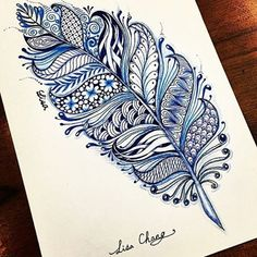 Zentangle feather  Artwork by: @lisa565998  Tag #ArtPostDaily to be featured!