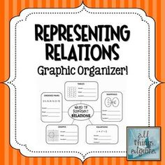 Representing Relations FREE Graphic Organizer!  Also reviews domain, range, and determining which relations are functions.