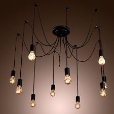 Vintage Edison Industrial Style 14 Heads Chandelier Pendant Lights Ceiling Lamps