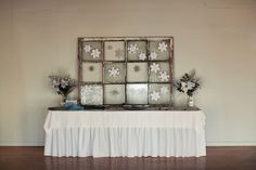 Escort Cards    Instead of individual escort cards, create a snowy seating chart — gather one snowflake per table, and print the guests' names on the appropriate snowflake.