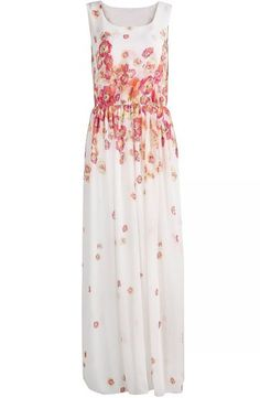 White Sleeveless Floral Pleated Chiffon Long Dress pictures