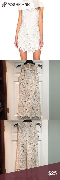 Lucy Paris white lace dress Lucy Paris white lace dress with gold/cream lining. Worn once for my wedding rehearsal dinner. Got SO many compliments on this dress! lucy paris Dresses Mini
