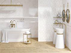 Бордюры для плитки могут применяться везде, где используется кафельная плитка. Это важный элемент в ремонте, придающий законченный вид помещению, будь то ванная комната или кухня. Он также играет роль декоративной изюминки, которая может использоваться для разделения зон, выложенных плиткой. #золотовинтерьере#золотистый#металлик#бордюр#зонирование#design#interior#bathroom#gold Calacatta, Interior S, Bathtub, Vanity, Bathroom, Standing Bath, Dressing Tables, Washroom, Bathtubs