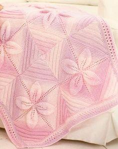 розовый плед спицами