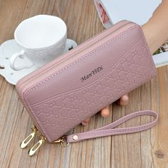 New Hot Sale Women Clutch Wallet Top Quality PU Leather Wallets Female Long Wallet Women Double Zipper Purse Coin Purse Carteira Leather Wallet Pattern, Cute Wallets, Macbook Case, Artificial Leather, Long Wallet, Clutch Wallet, Wallets For Women, Pu Leather, Purses And Bags