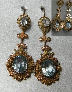 """Pair of aquamarine gold drop earrings, 40mm long 12mm wide. Set in three colour gold. Georgian circa 1820"""