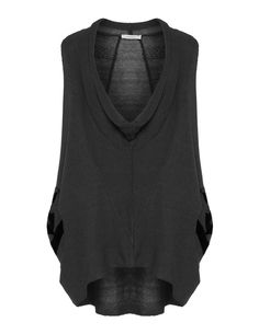 Luukaa Draped knitted top in Anthracite / Black