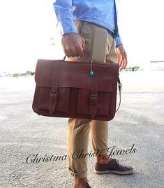 Brown Leather Briefcase, 15 inch Laptop Bag, Messenger Bag, Leather Bag Men, Made in Greece. Black Leather Messenger Bag, Leather Briefcase, Briefcase For Men, Messenger Bags, Evil Eye Pendant, Leather Bags Handmade, Laptop Bag, Bag Making, 5 D