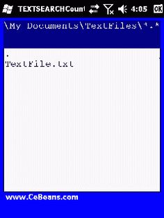 TEXTSEARCHCounter©  This program is a text file searcher that reports the count of a word or phrase in a file. Use the file based explorer to locate a text file and when you tap on the file enter the text to search for. The program reports the number of times of the text in the file.  http://cebeans.com/textsearchcounterp.htm