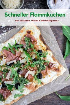 #Rezept für #Flammkuchen mit #Oliven, #Schinken und #Bärlauchpesto. Pesto Pasta, Easy Peasy, Vegetable Pizza, Good Food, Favorite Recipes, Snacks, Meals, Cooking, Ethnic Recipes