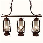 Triple Lamps Hanging From Bar #hanginglantern #rustic #loghome