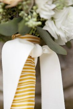 Yellow-and-White-Striped-Ribbon-Bouquet. Kristine and her bridesmaids took a trip to the flower market a few days before the wedding and made all of the bridesmaids' and flower girls' bouquets. Ribbon Bouquet, Bouquet Wrap, Bling Wedding, Wedding Flowers, Wedding Rings, Art Gallery Wedding, Wedding Photos, Summer Wedding, Wedding Day