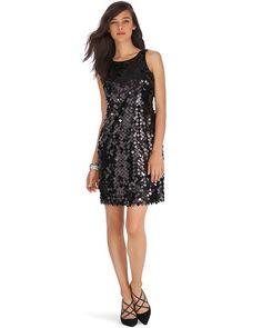 White House | Black Market Sleeveless Sequin Black Party Dress #whbm
