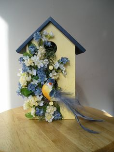 decorative birdhouses | Indoor Decorative Handpainted Birdhouse with Blue Bird and Blue ...