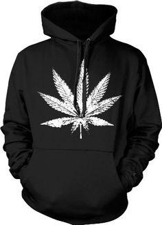 Big Pot Leaf Hooded Sweatshirt, Oversized Distressed Marijuana Leaf Design Hoodie (Black, Large) Ghast