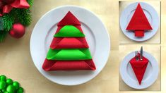 How to fold napkins for christmas 🎄 3 different techniques: Christmas Trees and a Napkin Pocket – Wasche falten Christmas Tree Napkin Fold, Christmas Napkins, Christmas Origami, Easy Christmas Crafts, Simple Christmas, Christmas Trees, Christmas Table Settings, Christmas Tablescapes, Christmas Table Decorations