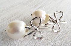Orecchini argento 925 con perle bianche barocche e fiocchi, gioielli sposa