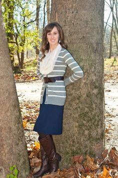 Jean skirt, gray striped sweater, cream scarf. Modest fall fashion