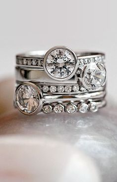 Modern Stacking Wedding Rings...would as regular rings not necessarily as a wedding set