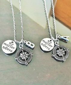 02057212c9 Couple Necklaces, Bff Necklaces, Friendship Necklaces, Bracelets, Compass  Necklace, Initial Necklace