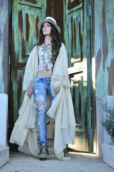 Cool summer day outfit. Ripped jeans, crop tops and long cardigan,by Madame de Rosa
