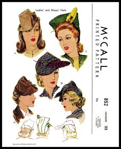 1940s McCALL   Unique Millinery Stunning Fascinator Hats Fabric Pattern.