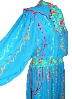 Vintage 1980's 80's Blue Rainbow Swirls Diane Fres Gyspy Floral Print Dress #DianeFres