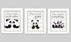 Nursery Art Trio Panda Nursery Prints Pink and Grey by ChicWallArt, $35.00
