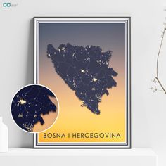 BOSNA I HERCEGOVINA map - BiH sunset map - Travel poster - Home Decor - Wall decor - Office map - BiH gift - GeoGIS studio Office Wall Decor, Wall Art Decor, New York City Map, Map Shop, Country Maps, Skyline Art, Custom Map, All Poster, Metallic Colors