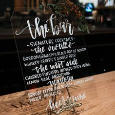 Another shot of the glass cocktail menu I did for my sister's wedding reception. Thanks @corakingstonphotography for the photo!