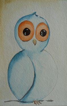 Two Owls original watercolors by PrettyOola on Etsy, $15.00
