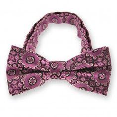 Deep Magenta Emma Floral Pattern Band Collar Bow Tie