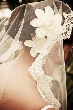 romantic veil + gardenia hair flowers
