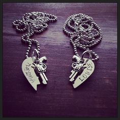 Silver Broken Hearts Stamped Thelma and Louise Attached to Silver Chains via Etsy