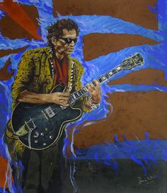"""Ronnie Wood """"Keith"""" Ronnie Wood Art, Rollin Stones, Ron Woods, Jasper Johns, Greatest Rock Bands, Boat Art, Caricature Drawing, Rock Posters, Keith Richards"""