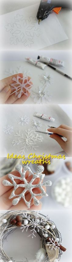 SODIAL(R) White Christmas Home Door Window Ornaments Christmas Decoration Xmas Tree Hanging Decor, A wreath with a bow-knot - My Cute Christmas Handmade Christmas Decorations, Diy Christmas Gifts, Xmas Decorations, All Things Christmas, Christmas Wreaths, Christmas Ornaments, Christmas 2017, Christmas Snowman, Winter Christmas