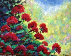 Artwork >> Richard T Pranke >> Cascade of Geraniums_sold