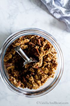 Maple Pecan Granola. Vegan + Optionally Gluten Free