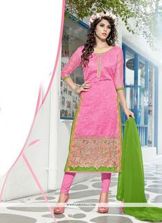 Genuine magnificence can come out from your dressing style and design with this pink chanderi cotton churidar designer suit. The enticing embroidered and lace work a intensive element of this attire. ...