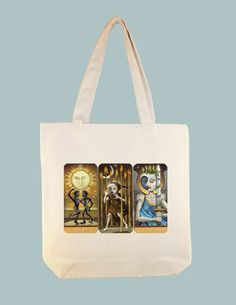 Three Vintage Moon Tarot Cards on 15x15 Canvas Tote -- larger zipper top style and personalization available