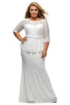b4195d7de8cba Lalagen Women s Half Sleeve Floral Lace Plus Size Long Evening Peplum Dress  White XXXL     For more information