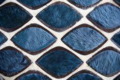 Flaunt designed by Amy Lau shown in custom blue, cream, & mink #cowhide
