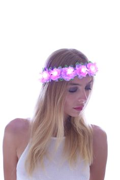 Pink-LED Light Up Flower CrownFloral HeadbandFlower by TheLUMiShop