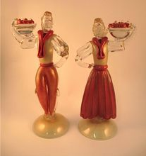 "Murano Glass Figures - Barovier e Toso - 12"" Pair - Gold Aventurine. #antique #vintage #appraisal"